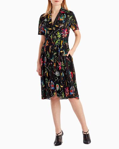 Short-Sleeve Floral-Print Crinkle Silk Dress