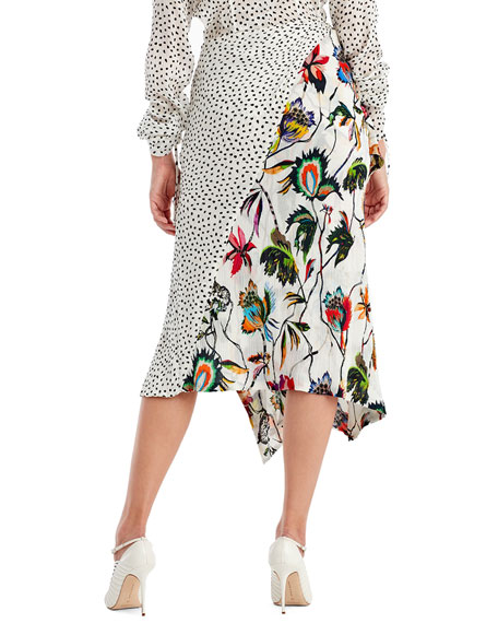 Mixed-Print Crinkle Crepon Wrap Skirt