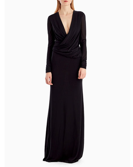 Jason Wu Collection Long-Sleeve Draped-Neckline Jersey Crepe