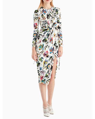 Drawstring-Sleeve Floral-Print Jersey Day Dress w/ Slit