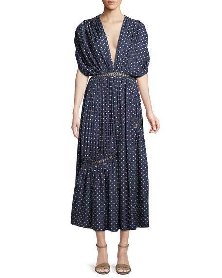 Winston Deep-V Polka-Dot Shirred Silk Dress with Grommets Detail