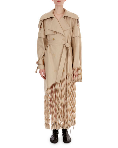Twisted Fringe-Bottom Trenchcoat