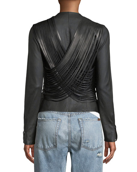Fringed Zip-Front Leather Jacket