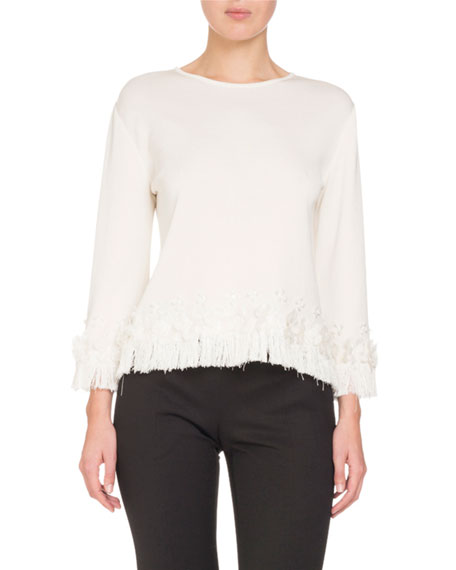 Fringed Silk Knit Top