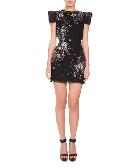 Beaded Cap-Sleeve Open-Back Mini Dress