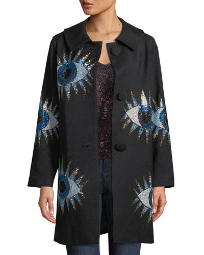 Crystal-Embellished Eyes Long-Sleeve Wool Coat