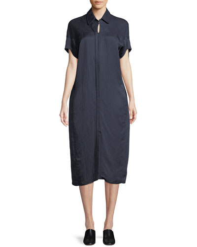 Concave Short-Sleeve Shirtdress