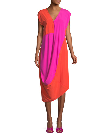 Colorblock Drape-Front Midi Dress