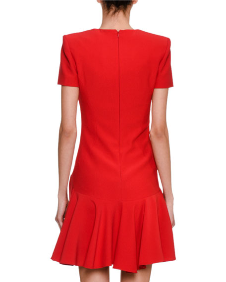 Short-Sleeve V-Neck Fit & Flare Dress, Scarlet