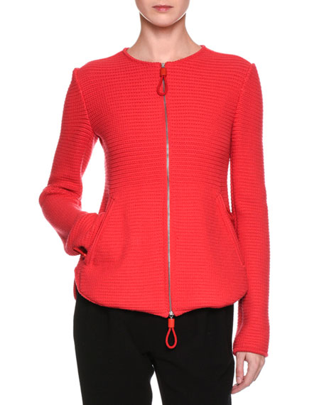 Flounce-Back Knit Zip-Front Jacket, Red