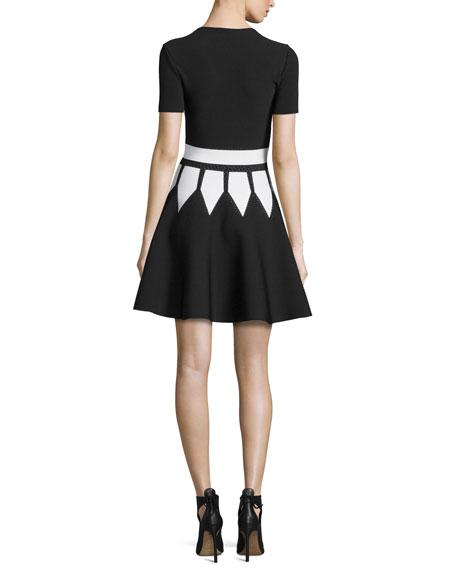 Jewel-Neck Dress with Graphic Flame Waist