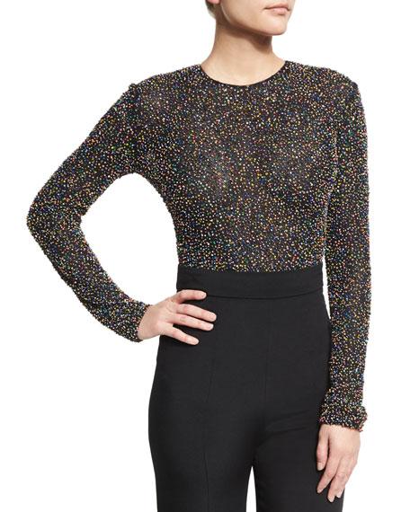Beaded Mesh Long-Sleeve Thong Bodysuit, Black/Multicolor