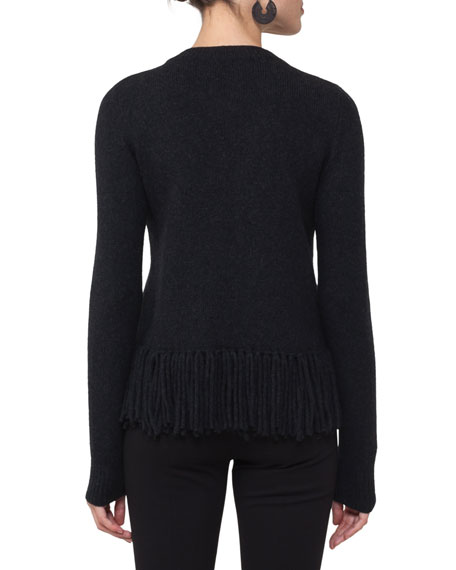 Fringed Cable-Knit Sweater