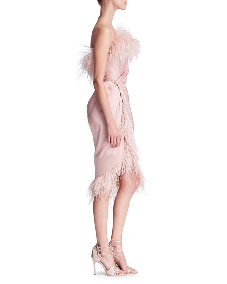 Feather-Embellished Satin Cocktail Dress