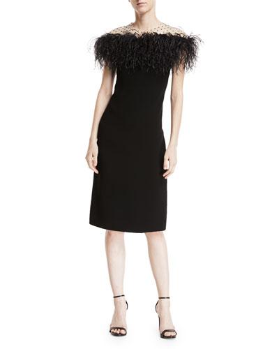 Stretch-Crepe Illusion Sheath Dress w/ Feather Trim