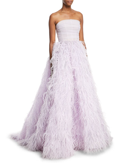 Strapless Feather-Embellished Ball Gown