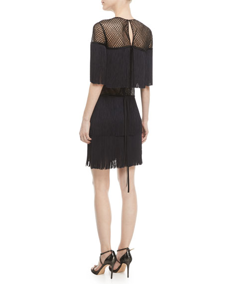 Fringed Mesh Cocktail Dress