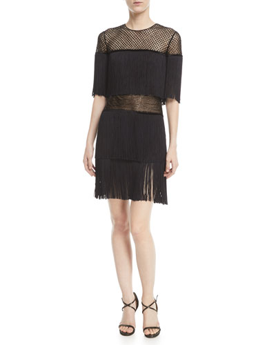 Fringed Mesh Cocktail Dress