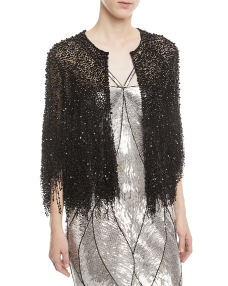 3/4-Sleeve Beaded Fringe Jacket