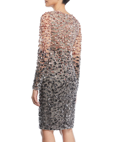 Long-Sleeve Beaded Ombre Cocktail Dress