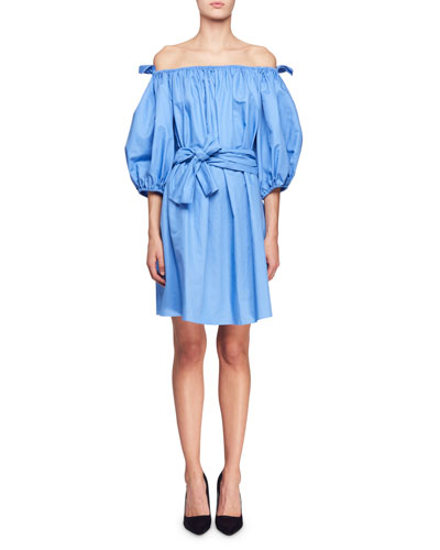 Reyna Off-Shoulder Balloon-Sleeve Dress