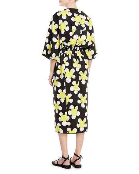 3/4-Sleeve Wrap-Front Daisy Dress