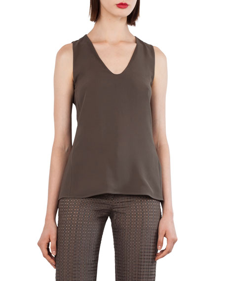 V-Neck Double-Layer Silk Top