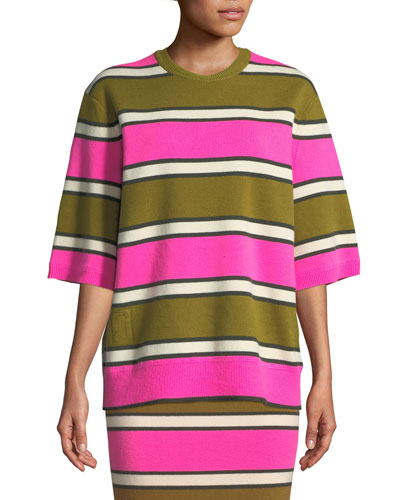 Crewneck Half-Sleeve Striped Cashmere Tee