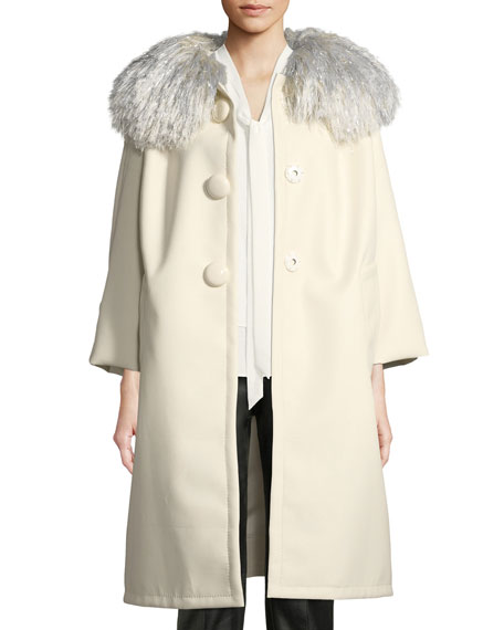 Oversized Pleather Coat w/Fringe Collar