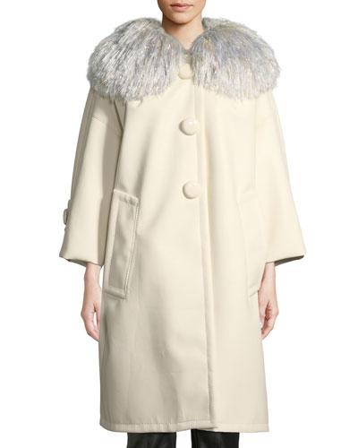 Oversized Pleather Coat w/Fringe Collar