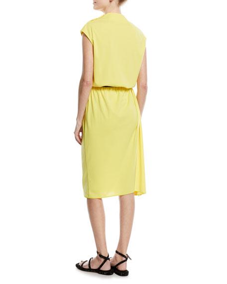 Cowl-Neck Tie-Waist Dress