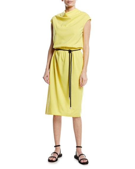 Drapped Yellow Cr?Pe Tie Waist Dress