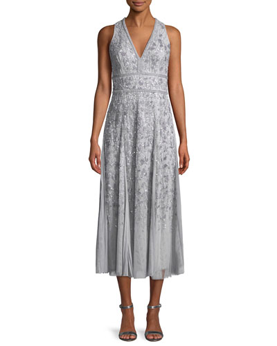 V-Neck Sleeveless Beaded Tea-Length Cocktail Dress