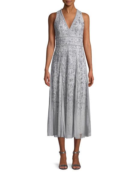 J Mendel V Neck Sleeveless Beaded Tea Length Cocktail Dress In