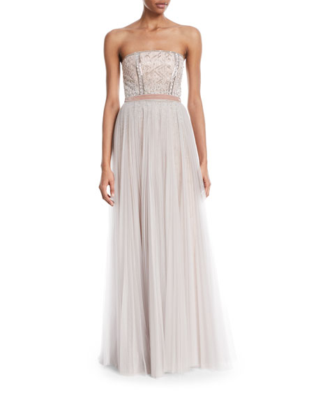 Strapless Paillette-Embellished Column Gown w/Overskirt