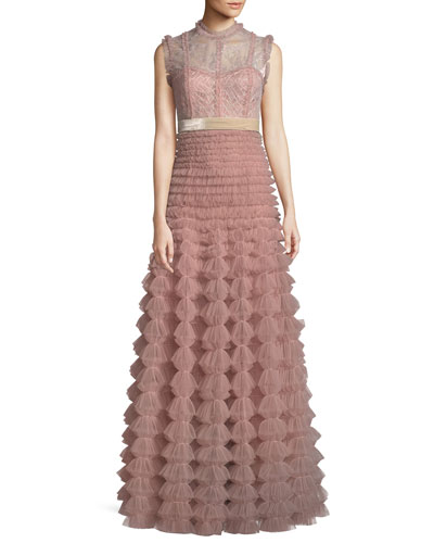 Sleeveless Lace Bodice Gathered Tulle Evening Gown