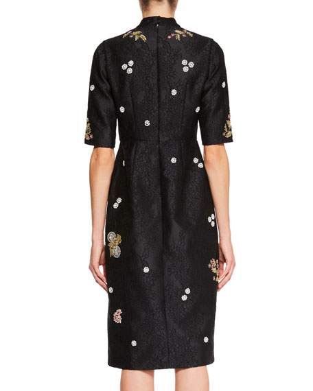 Tula Half-Sleeve Jacquard Dress with Beaded Embellishments