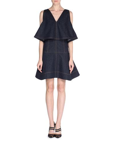 Sleeveless Denim Dress w/Cape