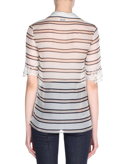 Striped Silk Tropical-Sleeve Blouse