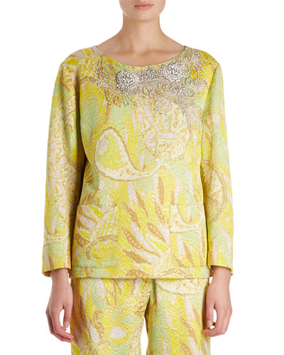 Carmel Beaded Paisley Brocade Top
