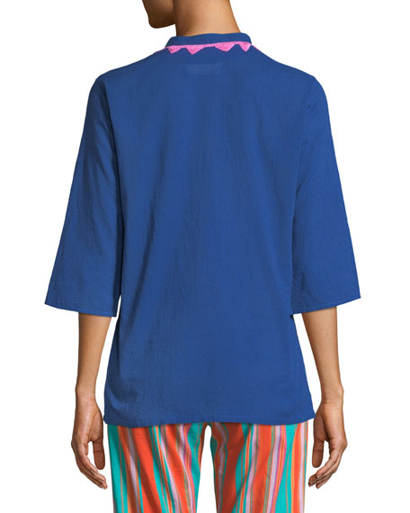 Jasmine Embroidered 3/4-Sleeve Top