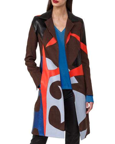 Patchwork Linen & Leather Coat Trench Coat