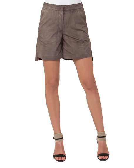 Nubuck Leather Bermuda Shorts