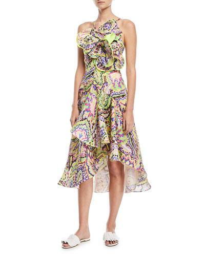 Ruffled Brushstroke Organza Midi Dress