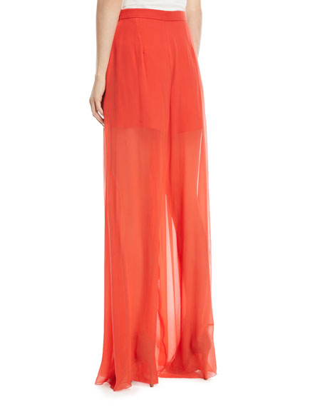 Sheer Silk Wide-Leg Pants