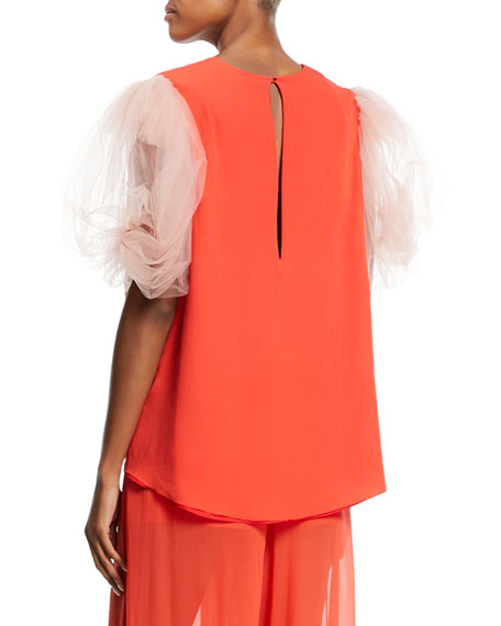 Puffed Tulle-Sleeve V-Neck Top