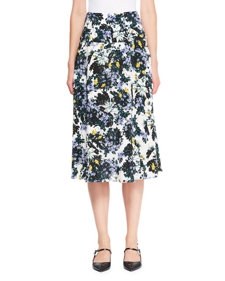 Elvin Wallpaper Floral Midi Skirt