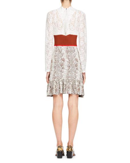 Python Jacquard Knit and Lace Long-Sleeve Dress
