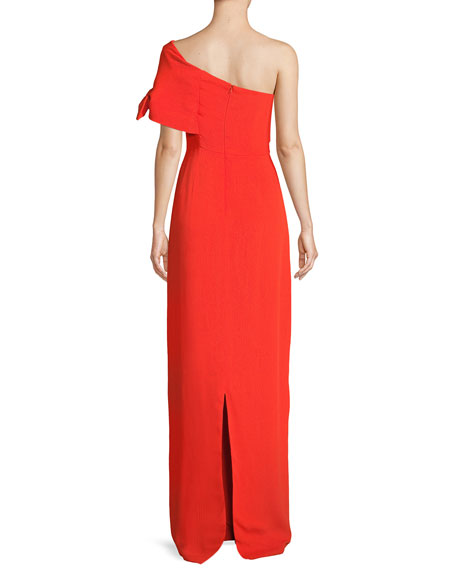 One-Shoulder Crepe Column Gown