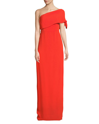 One-Shoulder Crepe Column Gown